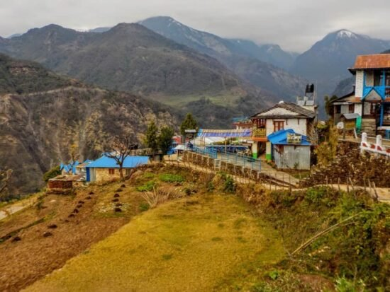 Colorful buildings and terraced hills in Nepal