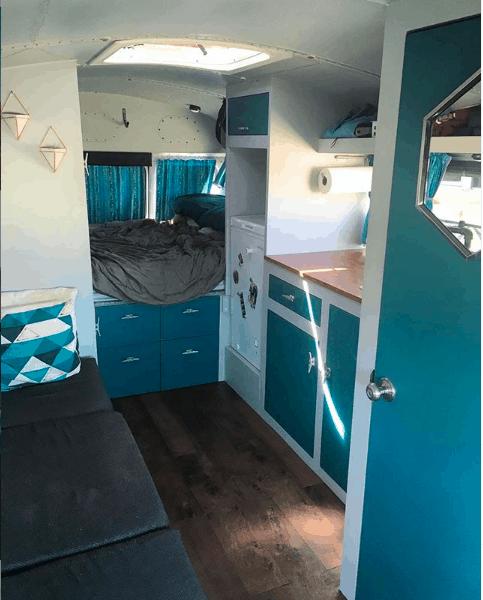 Interior picture of Stu the bus