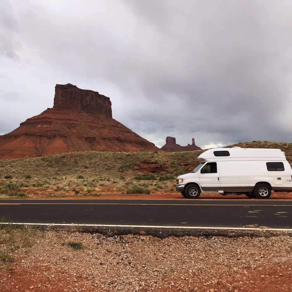 campervan traveling through utah desert