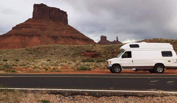 campervan traveling through utah desert