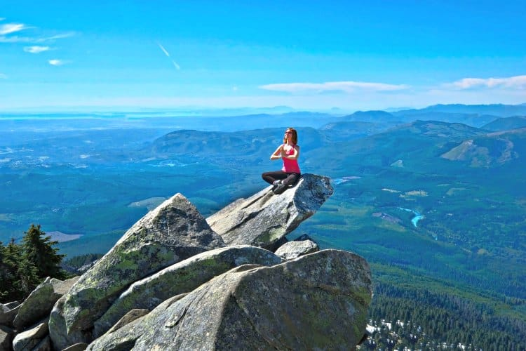 sitting on the summit of mount pilchuck