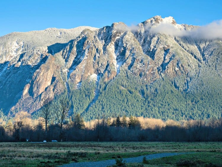 dusting of snow on Mount Si
