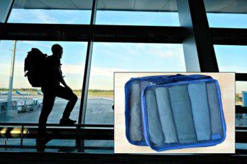 backpacker standing in airport