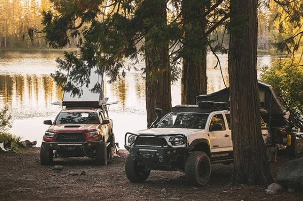 go fast campers setup in the woods
