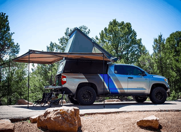 go fast campers setup at a campground