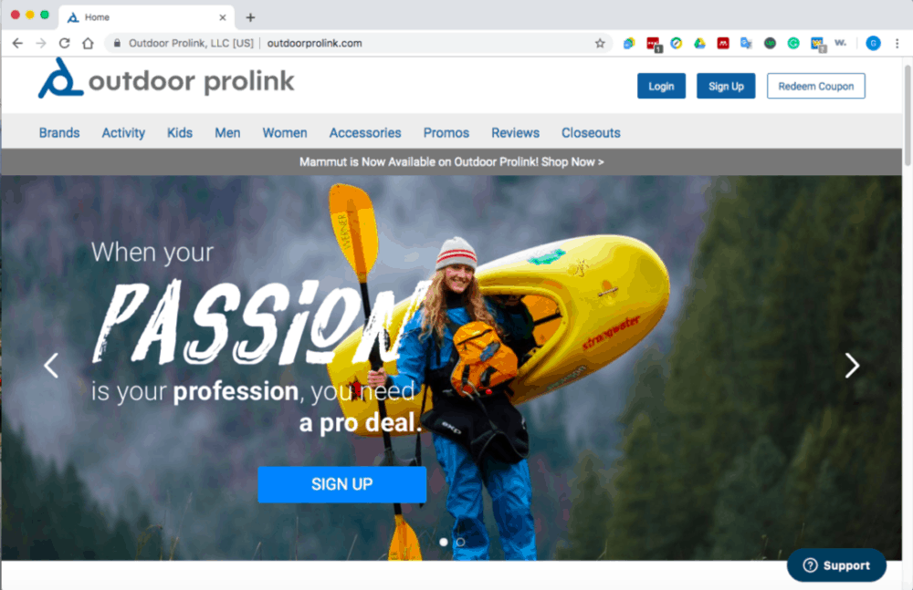 screen shot of outdoor prolink's website