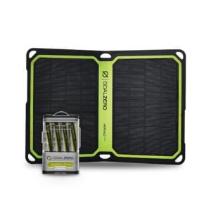 black mini solar panel with rechargeable battery pack