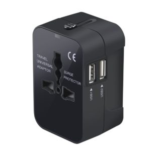 black universal outlet adaptor, box shaped