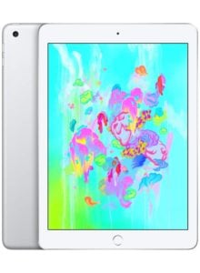 white iPad with colorful green screen