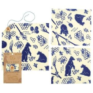 three beige beeswax wrappers with blue bear prints