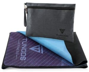 black carry bag and purple/blue thin yoga mat