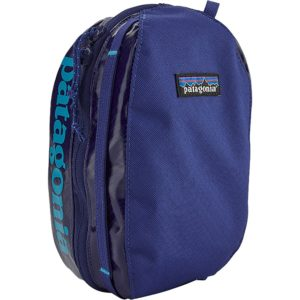 blue cube-shaped stuff sack with patagonia logo