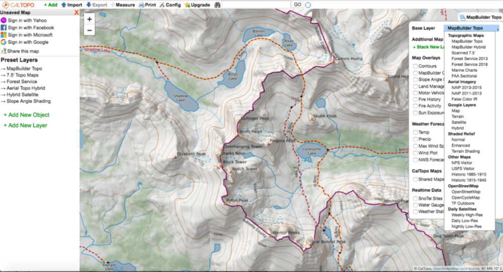 screen shot of how to change map base layers on cal topo