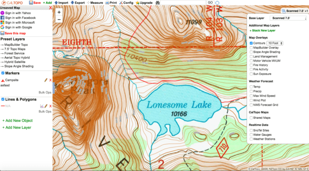 screenshot of contour overlays in Caltopo