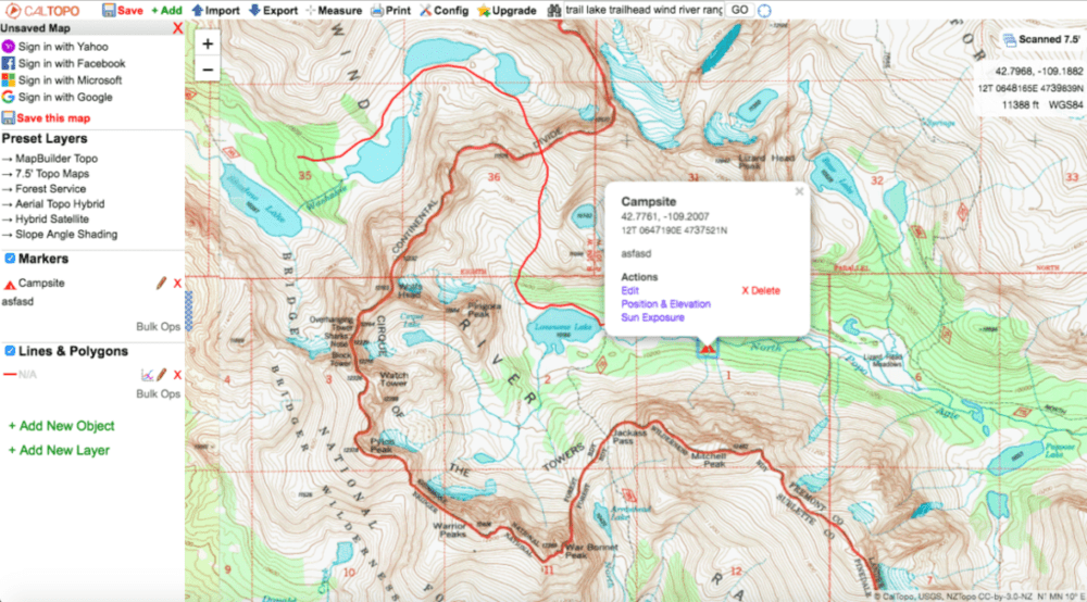 screen shot of how to get terrain statistics on Cal Topo
