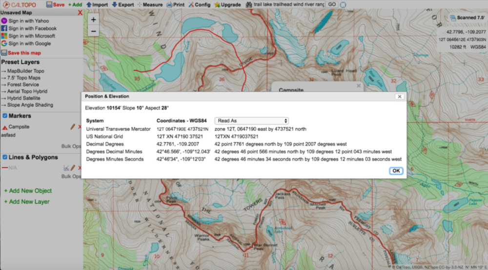 screenshot of terrain statistics for a point on caltopo