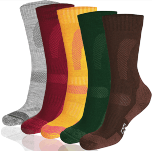 five pairs of solid high-top hiking socks