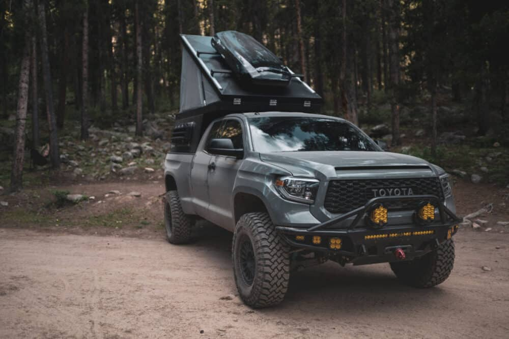 tundra for overlanding with roof top pop tent