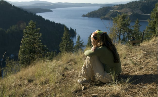 hiker with view of Lake Pend Oreille