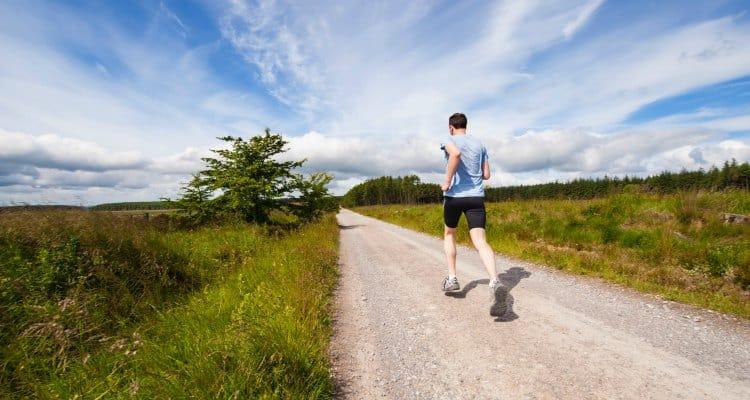 man doing strides type of running