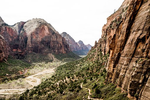 view of the Virgin River from Angels Landing with cliffs in the foreground