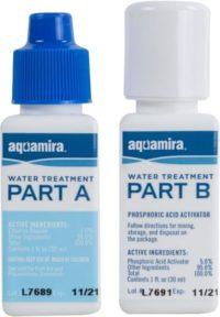blue and white aquamira bottles on white background