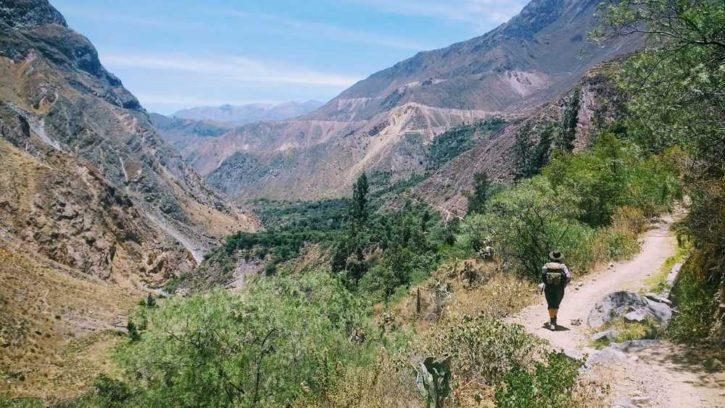 girl hiking in canyon