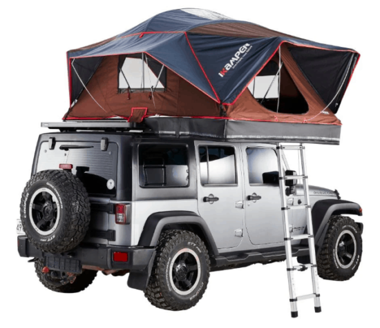 red and blue tent on silver jeep wrangler