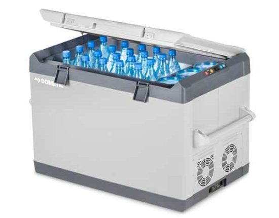 dometic cf 110 series fridge on white background with bottles inside
