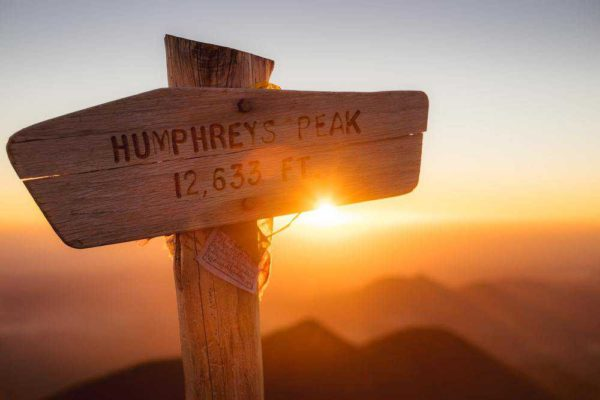 Humphrey's Peak, Arizona summit sign