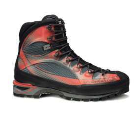 black and red mountaineering boot on white background