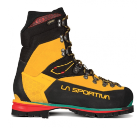 black and yellow mountaineering boot on white background