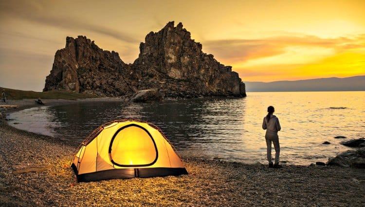 camping alone woman
