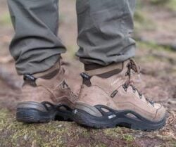 pair of brown Lowa hiking boots