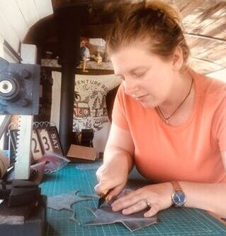 Carley makes leather goods