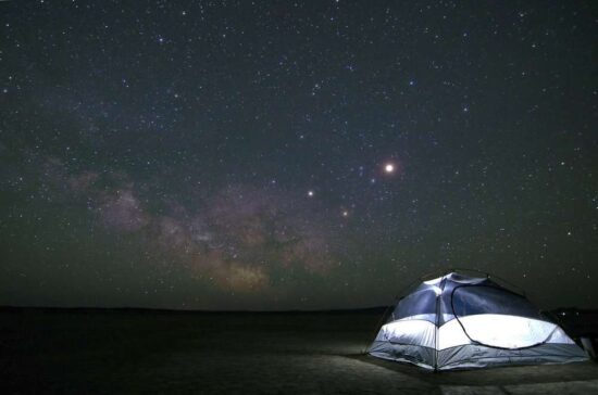 white tent with starry sky