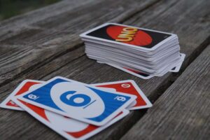 uno cards on wood table