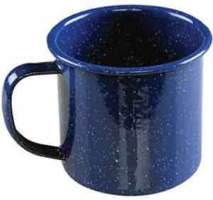 blue enamel mug with handle on white background