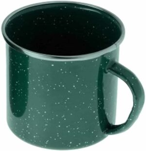 green mug on white background