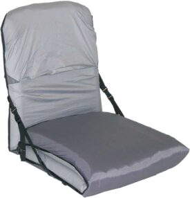 grey folding chair on white background
