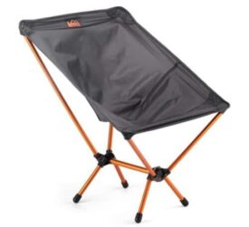 black and orange folding chair on white background