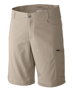 beige hiker shorts on white background