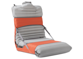 orange and grey camping chair on white background