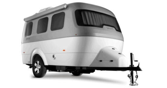 white and grey camper trailer on white background