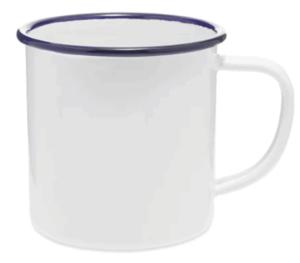 white mug with blue rim on white background