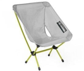 grey and yellow folding chair on white background