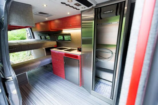 inside of converted mercedes sprinter