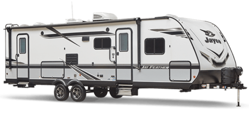 white and black travel trailer on white background