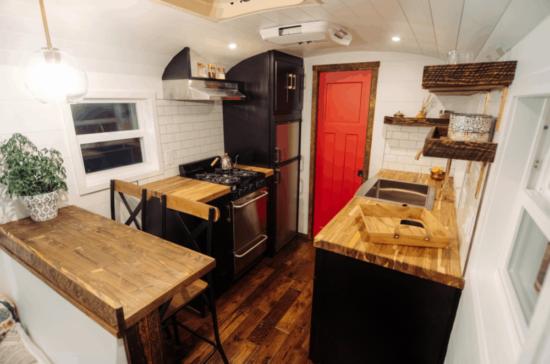 kitchen of a skoolie conversion