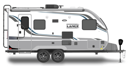 black, white, and grey travel trailer on white background